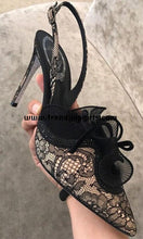 Load image into Gallery viewer, Black Lace High Heels Women Shoes HZS0141