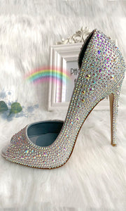 Sparkly Silver High Heels Women Shoes HZS0214