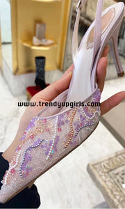 Light Purple Beaded Lace Sandals High Heels HZS0188