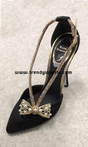 Black High Heels Women Shoes with Beaded Bow HZS0147