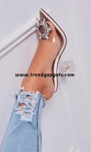 Popular Sandals High Heels Women Shoes with Rhinestone HZS0164