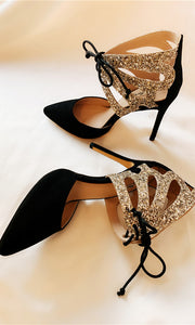 Black Sparkle High Heels Women Shoes HZS0201