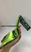Load image into Gallery viewer, Green Sandals Heels Women Shoes with Rhinestone HZS0197