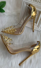 Load image into Gallery viewer, Gold Beaded Women Shoes High Heels HZS0228