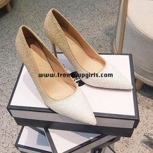 Load image into Gallery viewer, Sparkle Champagne White High Heels Women Shoes HZS0112