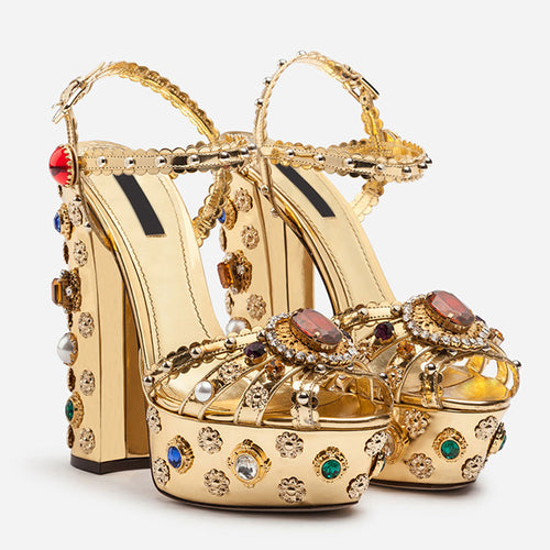 Gold Christal High Heels Women Shoes HZS0234