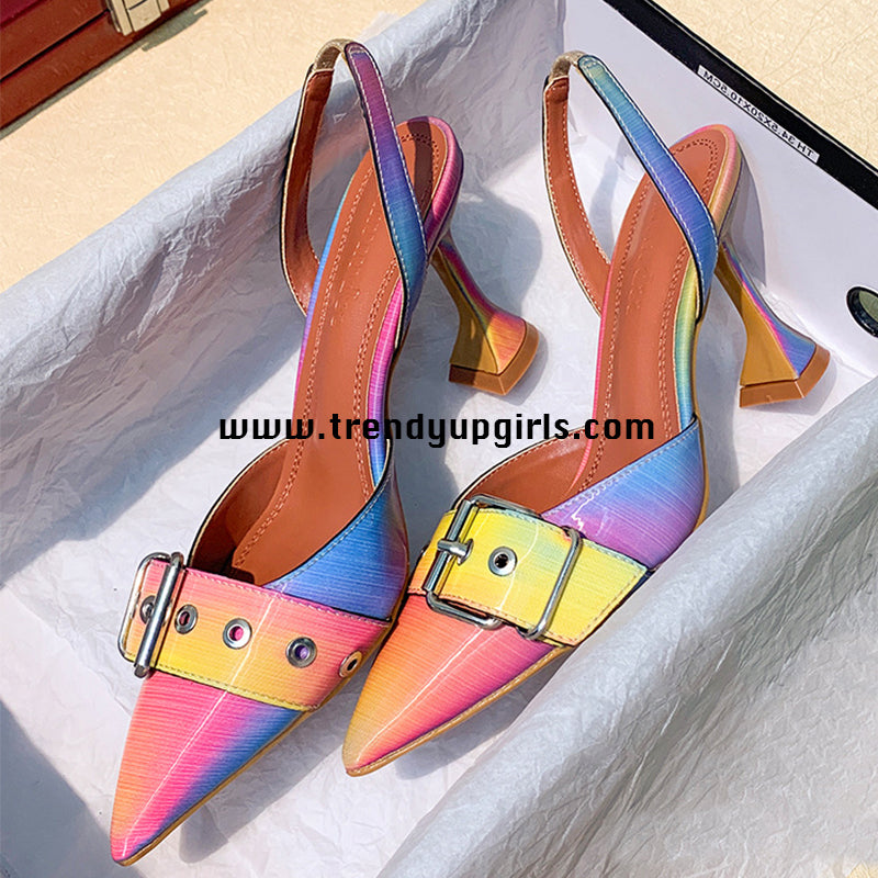 Colorful Sandals High Heels Women Shoes HZS0174