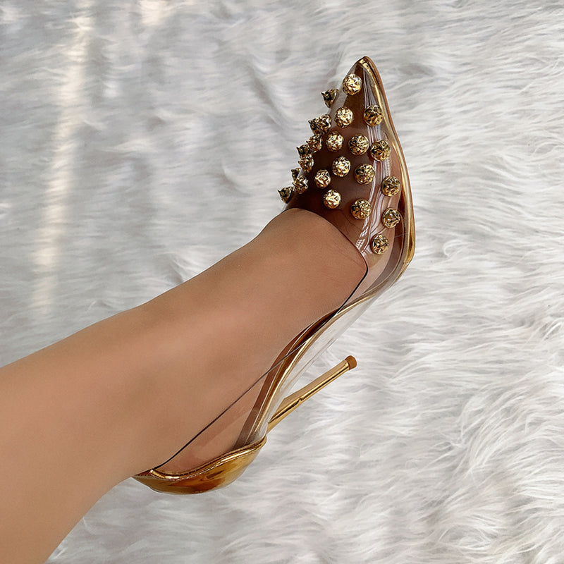 Gold Beaded Women Shoes High Heels HZS0228