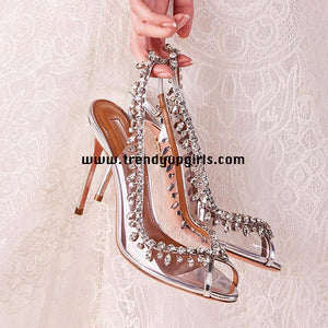 Silver Sandals Sparkle Beaded High Heels HZS0183