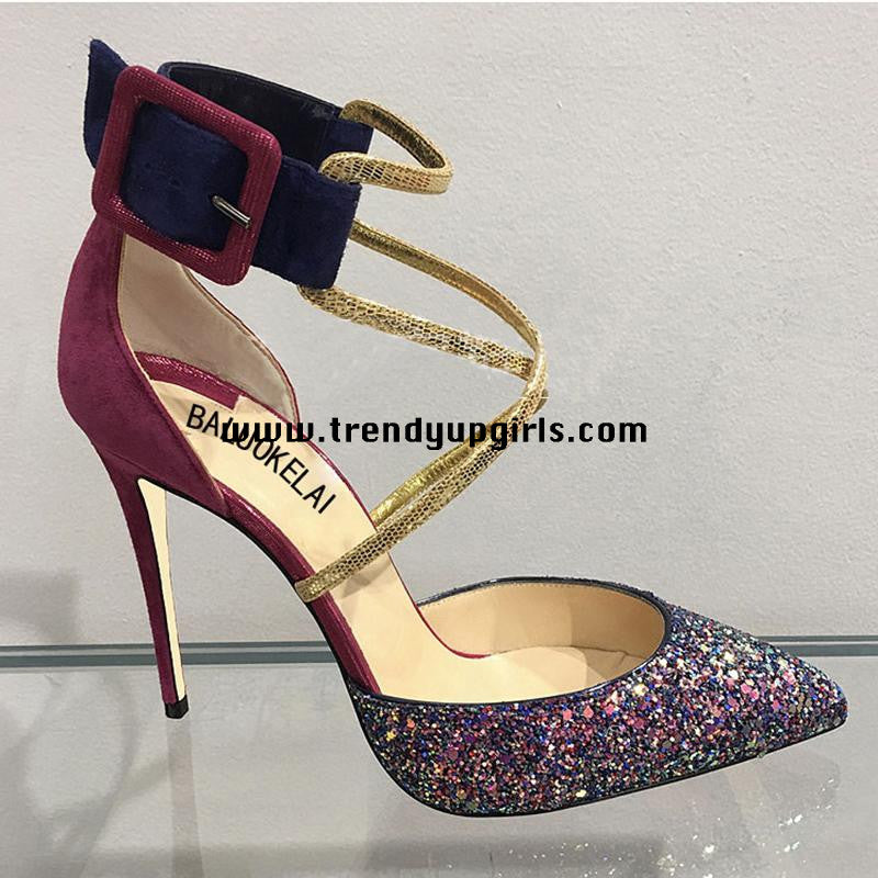 Sparkly High Heels Prom Sandals Women Shoes HZS0155