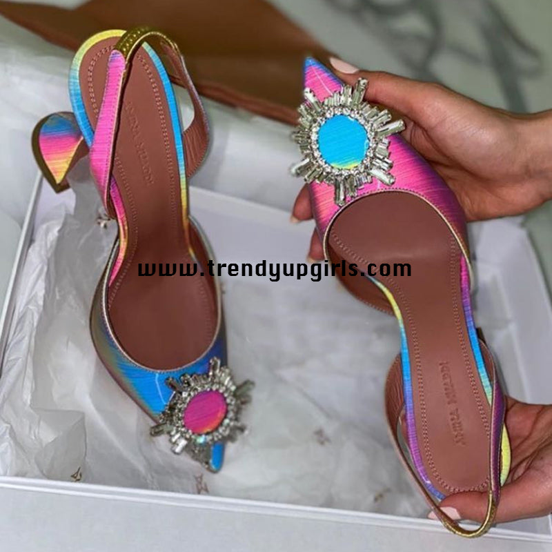 Colorful Beaded Sandals High Heels Women Shoes HZS0171