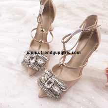 Load image into Gallery viewer, Nude High Heels Women Shoes with Rhinestone HZS0180