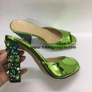 Green Sandals Heels Women Shoes with Rhinestone HZS0197