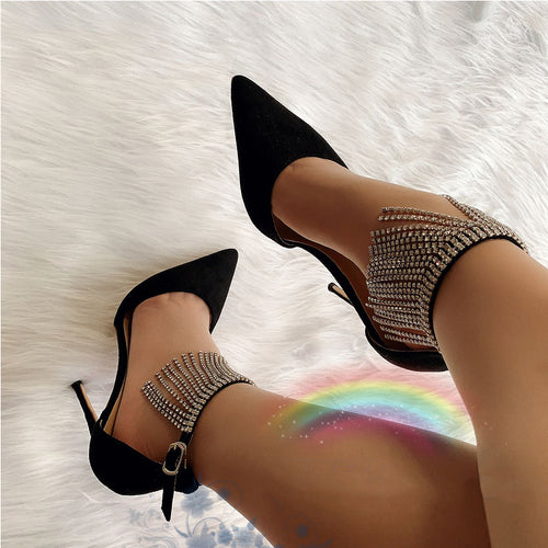 Black Ankle Strapped Beaded Sandals High Heels HZS0224