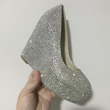 Load image into Gallery viewer, Silver Beaded Glitter Women Heels Wedding Shoes HZS0220