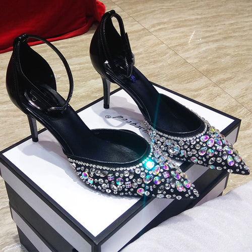 Black Beaded Sandals Heels Women Shoes HZS0235