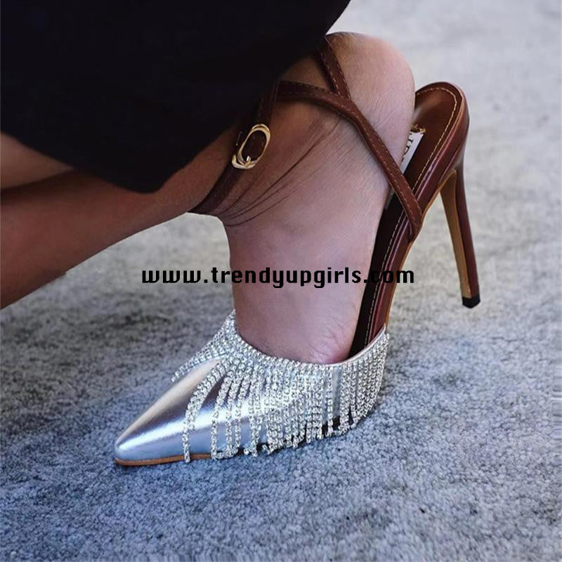 Silver High Heels Women Shoes with Beads HZS0133