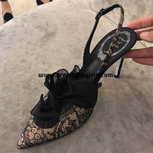 Black Lace High Heels Women Shoes HZS0141