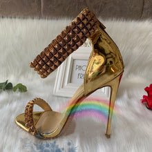 Load image into Gallery viewer, Gold Ankle Strapped Sandals High Heels HZS0225