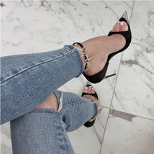 Load image into Gallery viewer, Black Sandals Ankle Strapped High Heels HZS0227