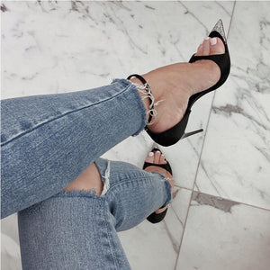 Black Sandals Ankle Strapped High Heels HZS0227