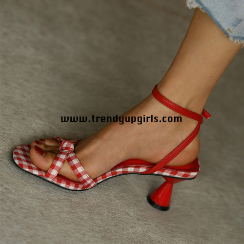 Red Sandals Heels Women Shoes HZS0195