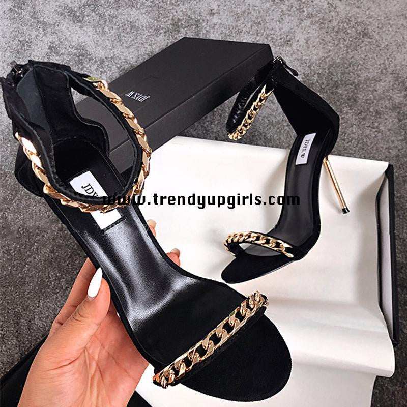 Black High Heels Women Sandals Shoes HZS0124