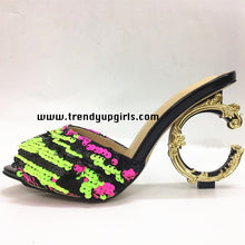 Load image into Gallery viewer, Sequin Sandals High Heels Women Shoes HZS0196