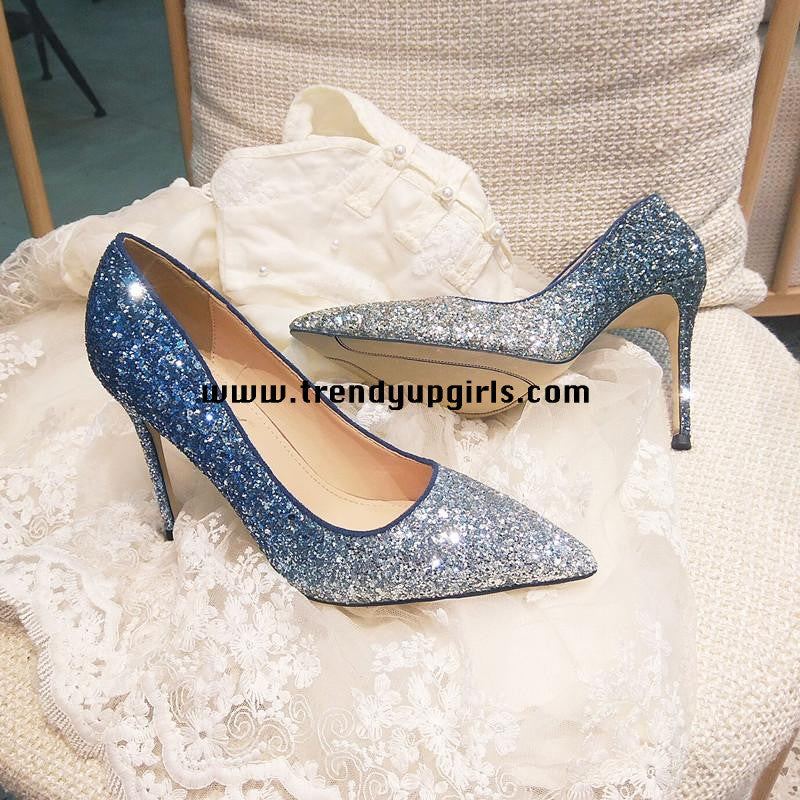 Sparkle Gradient Blue High Heels Women Shoes HZS0113