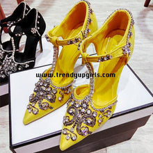 Load image into Gallery viewer, Yellow High Heels Shoes with Rhinestone HZS0104