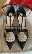 Load image into Gallery viewer, Black High Heels Women Shoes with Beads HZS0101