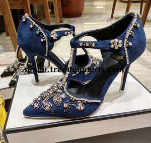 Yellow High Heels Shoes with Rhinestone HZS0104