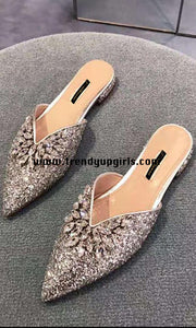 Sparkle Flat Women Shoes with Rhinestone HZS0105