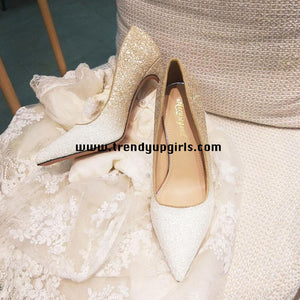 Sparkle Champagne White High Heels Women Shoes HZS0112