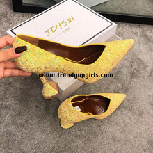 Load image into Gallery viewer, Yellow Sparkly High Heels Women Shoes HZS0136