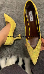 Yellow Sparkly High Heels Women Shoes HZS0136