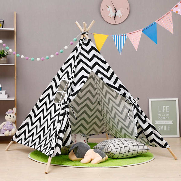 130cm Teepee Large Cotton Linen Kids Teepee Playhouse Indian Play Tent House White Children Tipi Tee Pee Tent