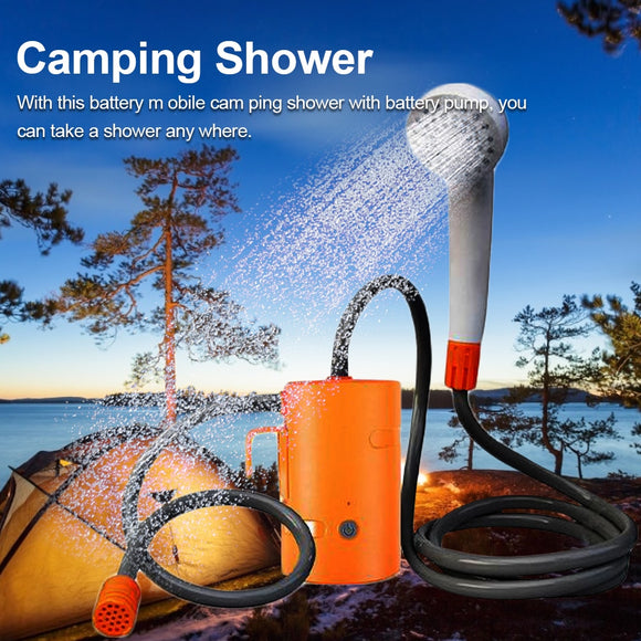 USB Outdoor Portable Shower Electric Shower Camping Rechargeable Bathing Artifact Camping Shower Pumping Strong 1.8m in stock