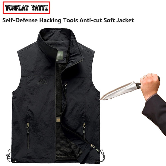 Summer selfdefense anti-hacking Men vest security protectionfbi Plus Size military tactical anti-stab-cut soft hidden clothing