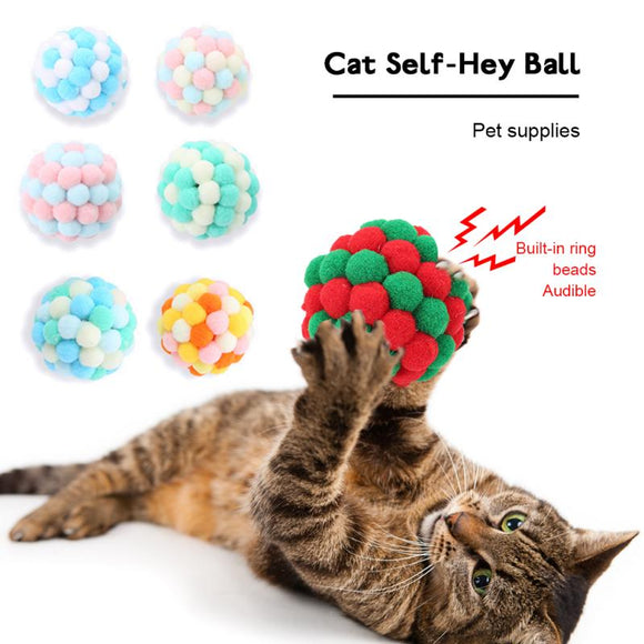 Pet Cat Toy Self-excited Ball Funny Cat Ball Plush Bell Ball Handmade Bells Bouncy Ball Cat Supplies,mouse Corduroy Pet Toy
