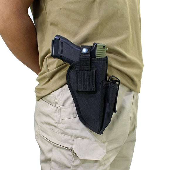 Tactical Handgun Holster Molle System Pistol Holster with Magazine Slot Holder Fit Most Medium Handguns Left Right Hand Hunting