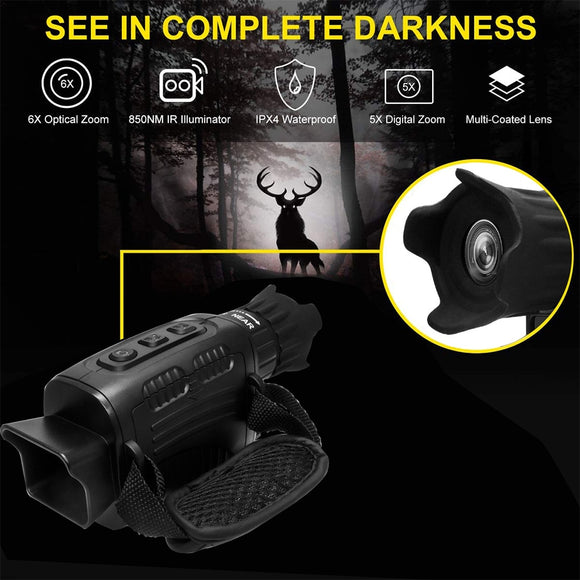 Digital Infrared Night Vision Monocular HD Full Black Infrared Detection Night Vision Can Be Connected To External Equipment