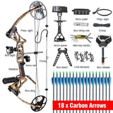 Ship from USA M1 Compound Bow Set 19-70 lbs IBO 320 fps with Release Bow Sight Arrow Rest Stabilizer 18pcs Arrows