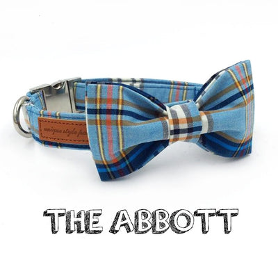 Dapper Blue Plaid Dog Collar With Bow Tie & Leash