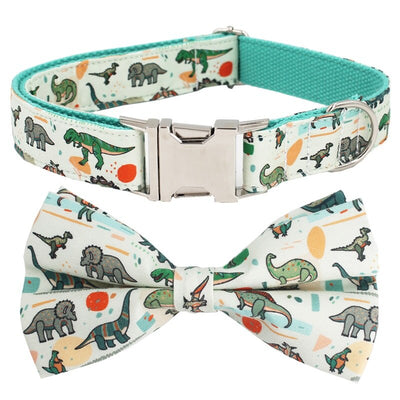 Dinosaur Dog Collar And Leash Set with Bow Tie