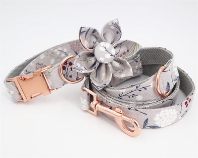 Personalized Grey Floral Dog Collar with Rose Gold Metal Buckle