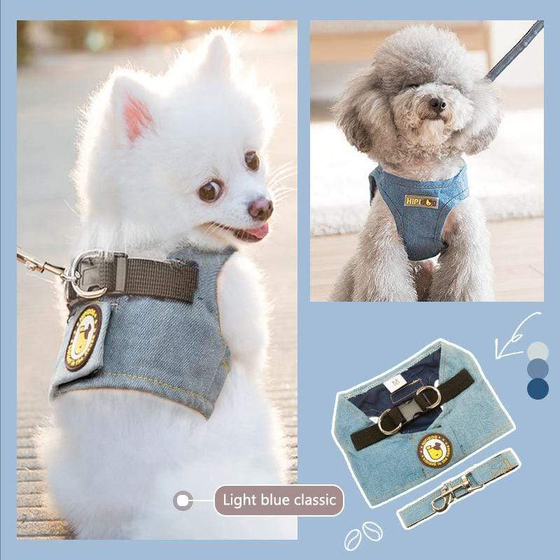 Denim Classical Pet Dog Harness & Leash Set