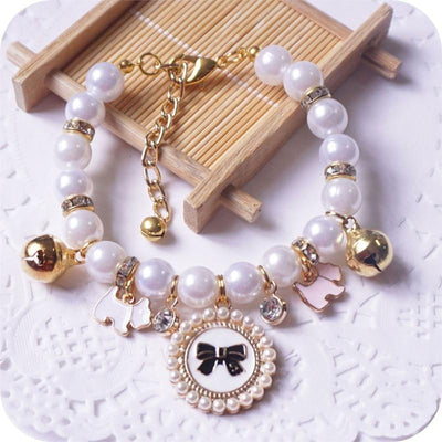 Handmade Princess Pearl Pet Necklace For Small Dogs