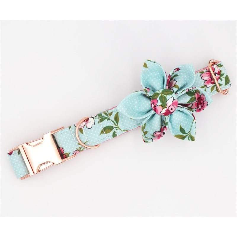 Personalized Aqua Flower Dog Collar with Rose Gold Metal Buckle