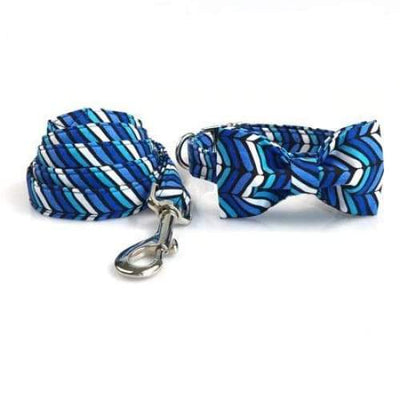 Blue Leave Pattern Plaid Dog Collar and Leash Set with Bowtie Adjustable